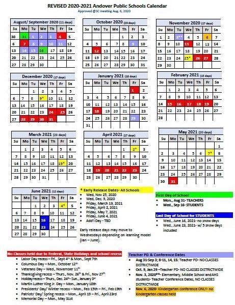 Aps Calendar 2021 School Year Calendar 2020 21 | Andover Public Schools   Official