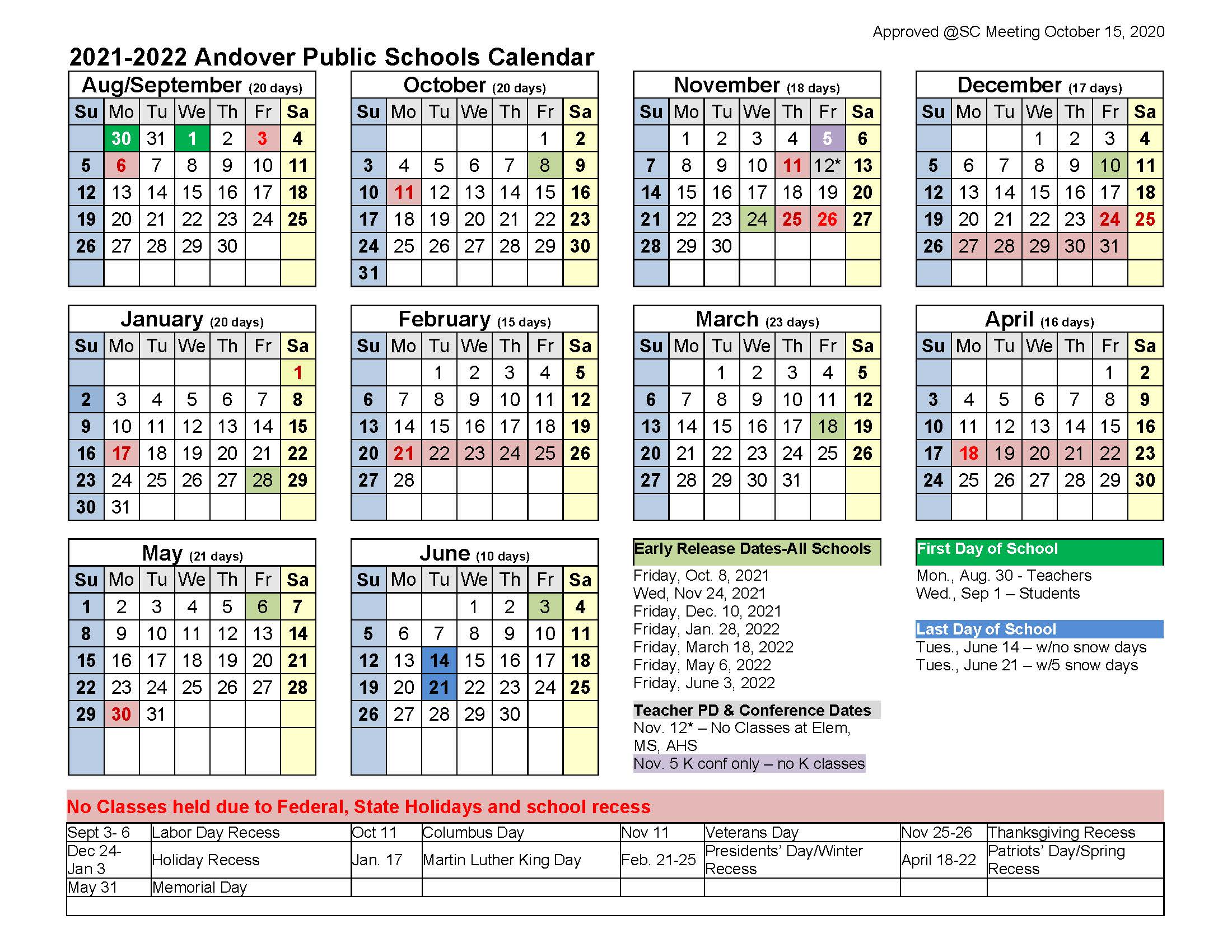 Images of Excel Academic Calendar 2021-22