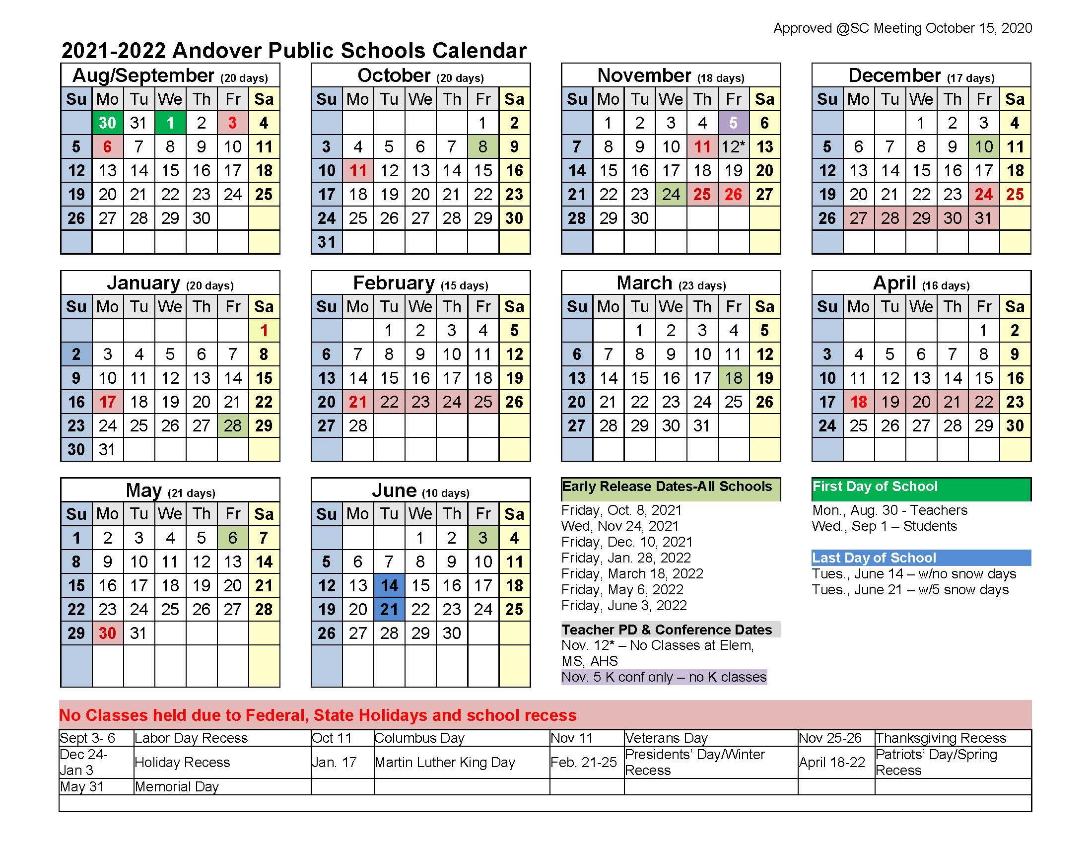Mississippi State Academic Calendar 2022.School Year Calendar 2021 22 Andover Public Schools Official Website